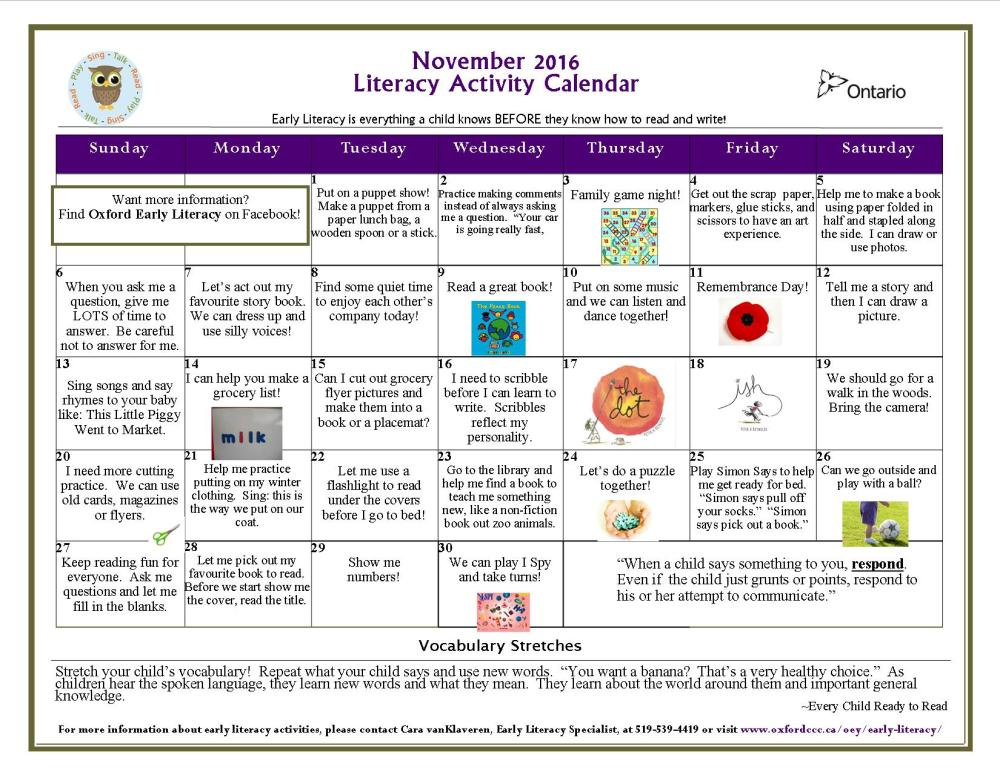 Literacy Activity Calendars  Oxford Early Literacy